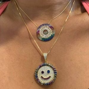 Baguette rainbow CZ evil eye gold necklace